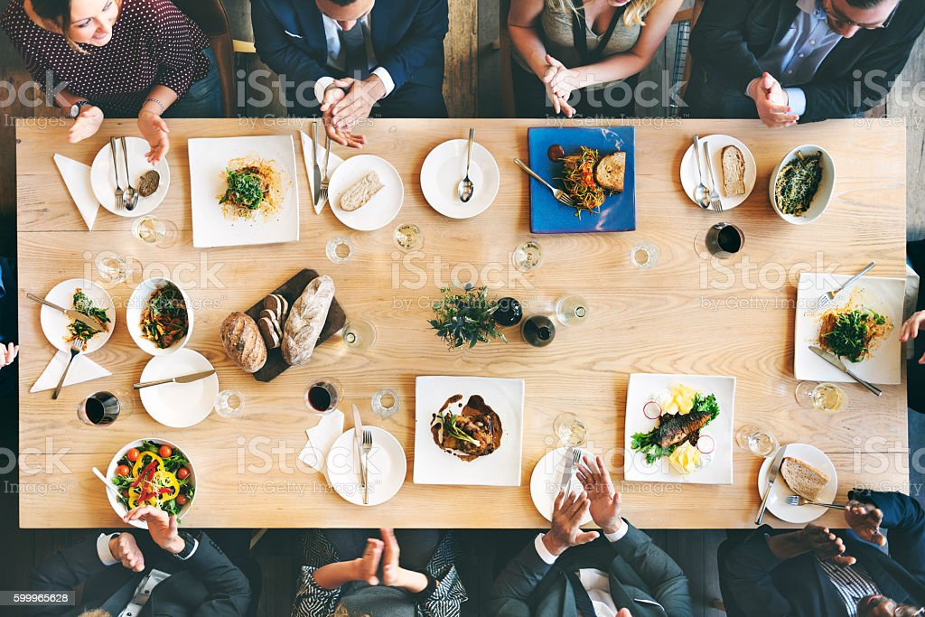 Business People Cafe Celebrate Friend Dining Concept stock photo