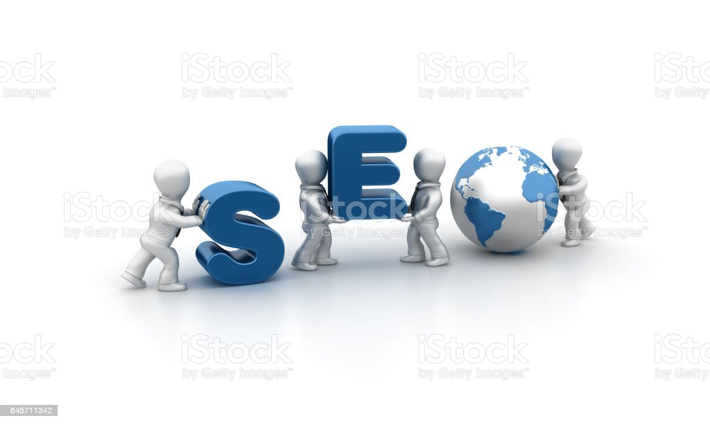 Business People Carrying SEO Word- 3D Rendering stock photo