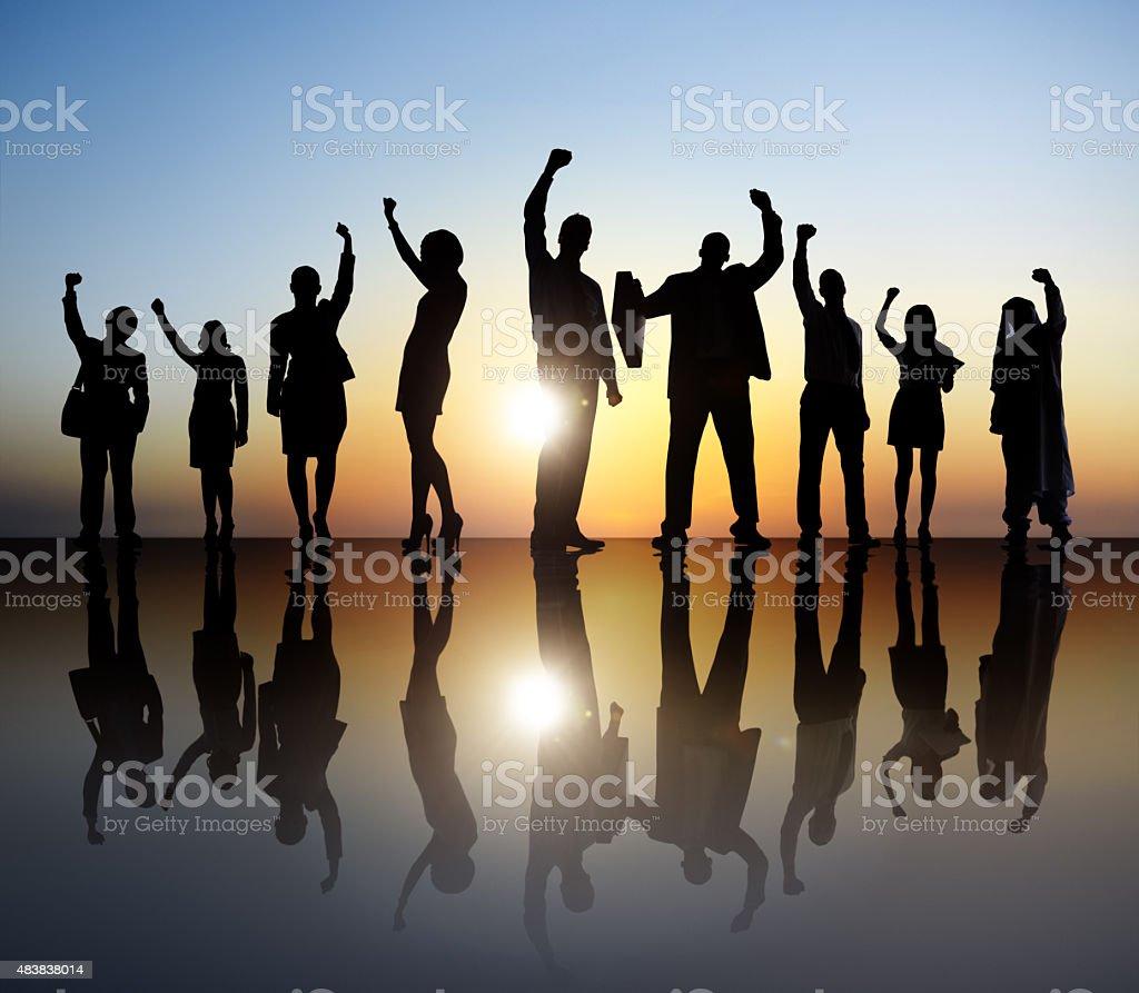 Business People Celebration Teamwork Success Concept stock photo