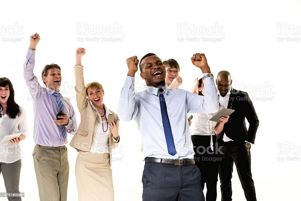 Business People Cheering royalty-free stock photo