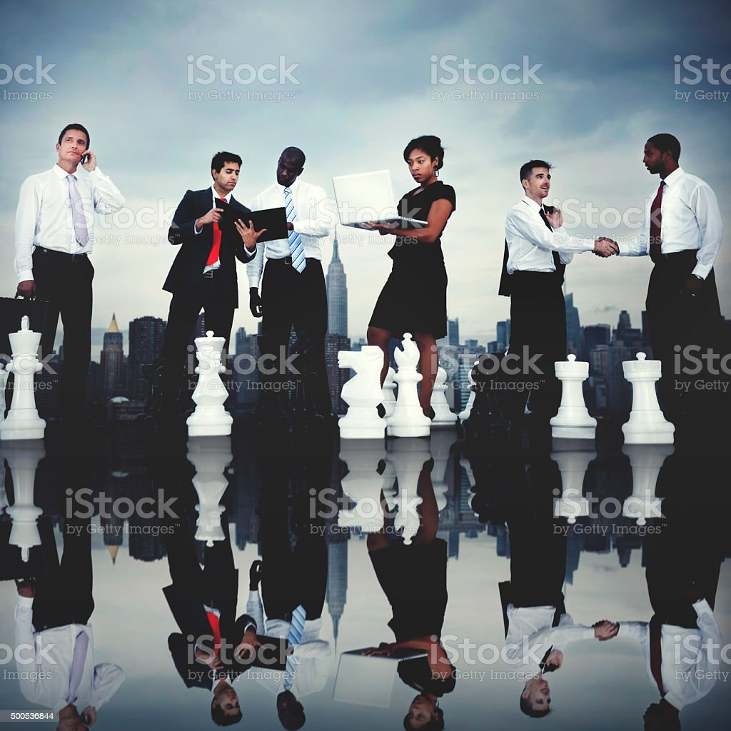 Business People Chess Corporate Team Strategy City Concept stock photo