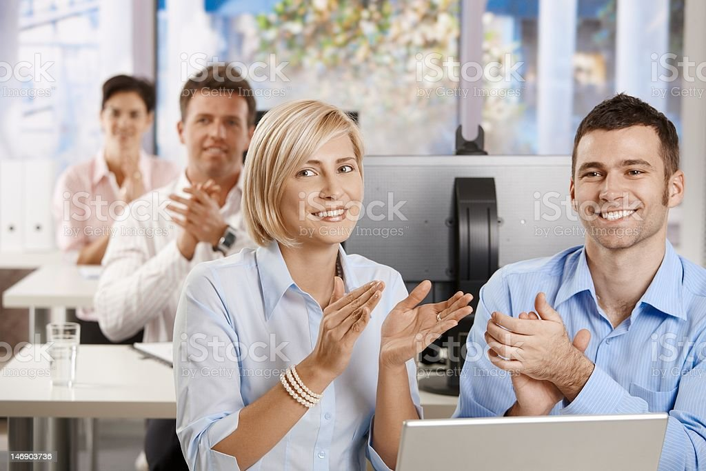 Business people clapping on training royalty-free stock photo