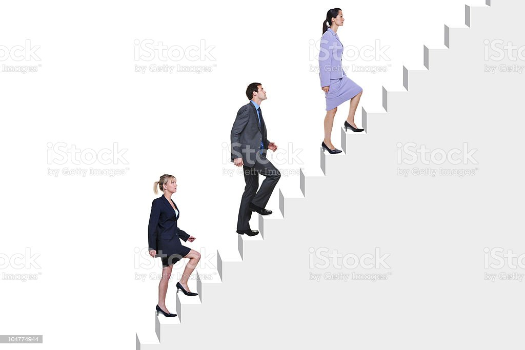 Business people climbing stairs stock photo