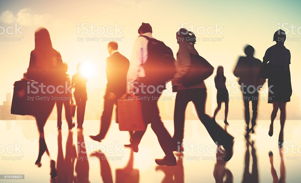 Business People Colleagues Walking Commuting Concept stock photo