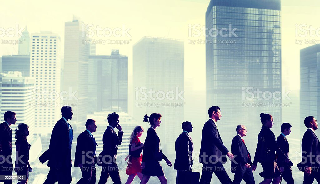 Business People Commuter Walking City Concept stock photo