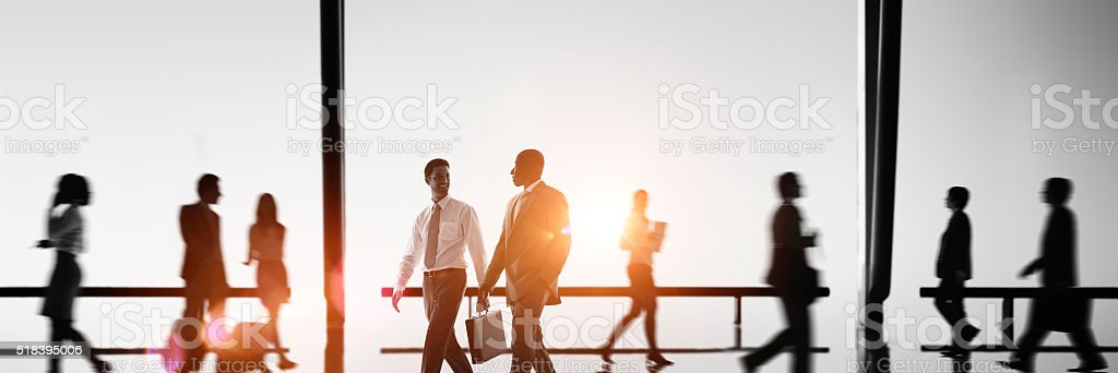Business People Commuter Walking Rush Hour Concept stock photo