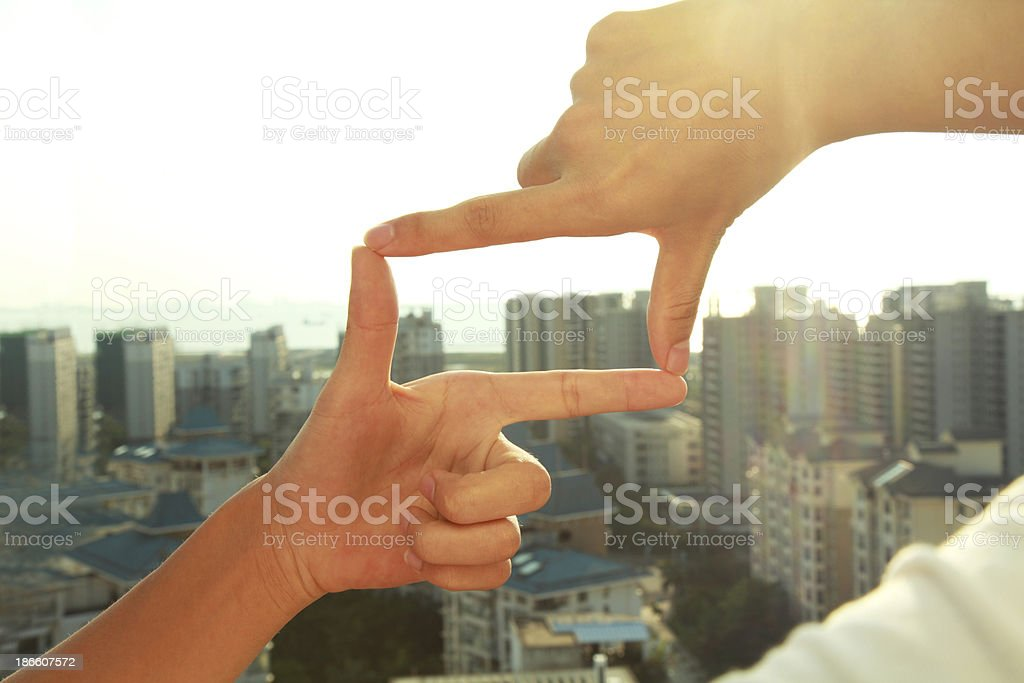 Business people composition finger frame gesture stock photo