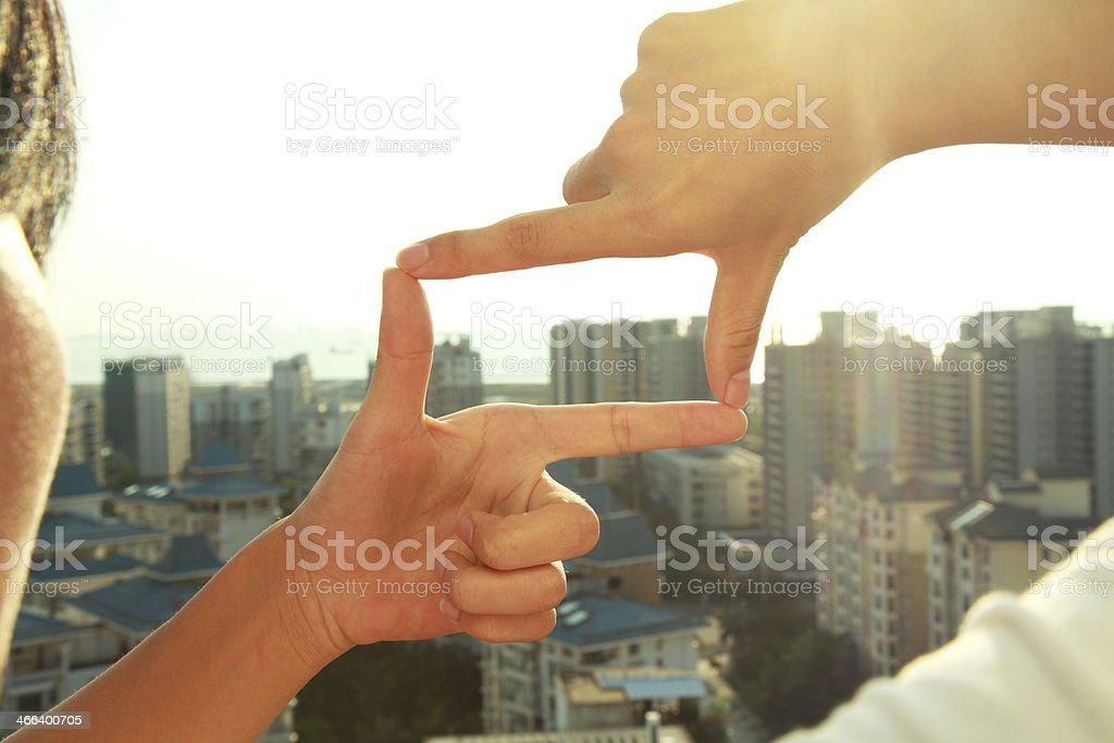 Business people composition finger frame gesture royalty-free stock photo