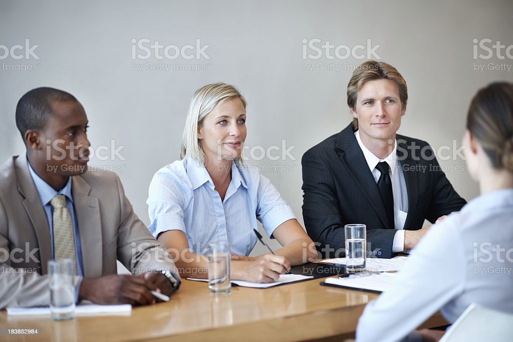 Business people conducting an interview for applicant royalty-free stock photo