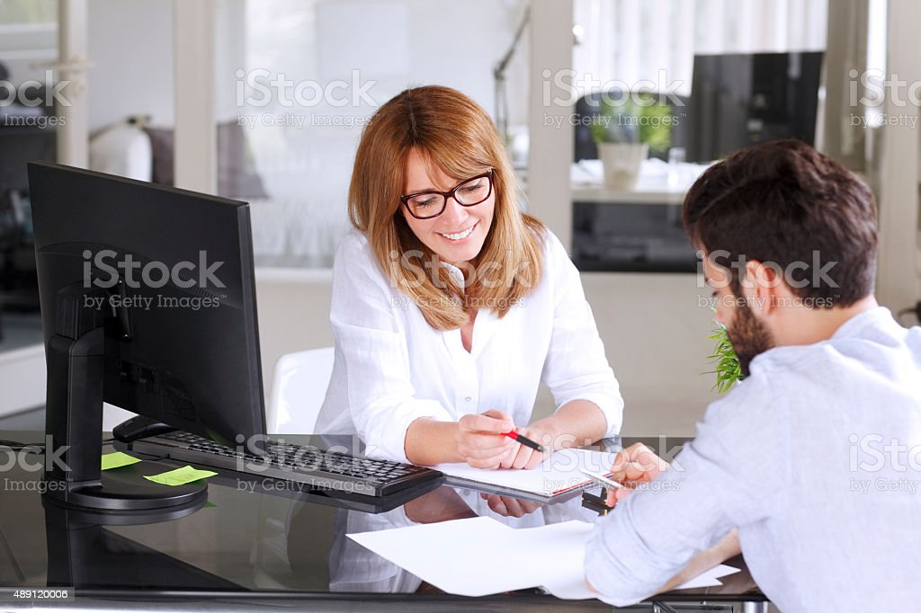 Business people consulting stock photo