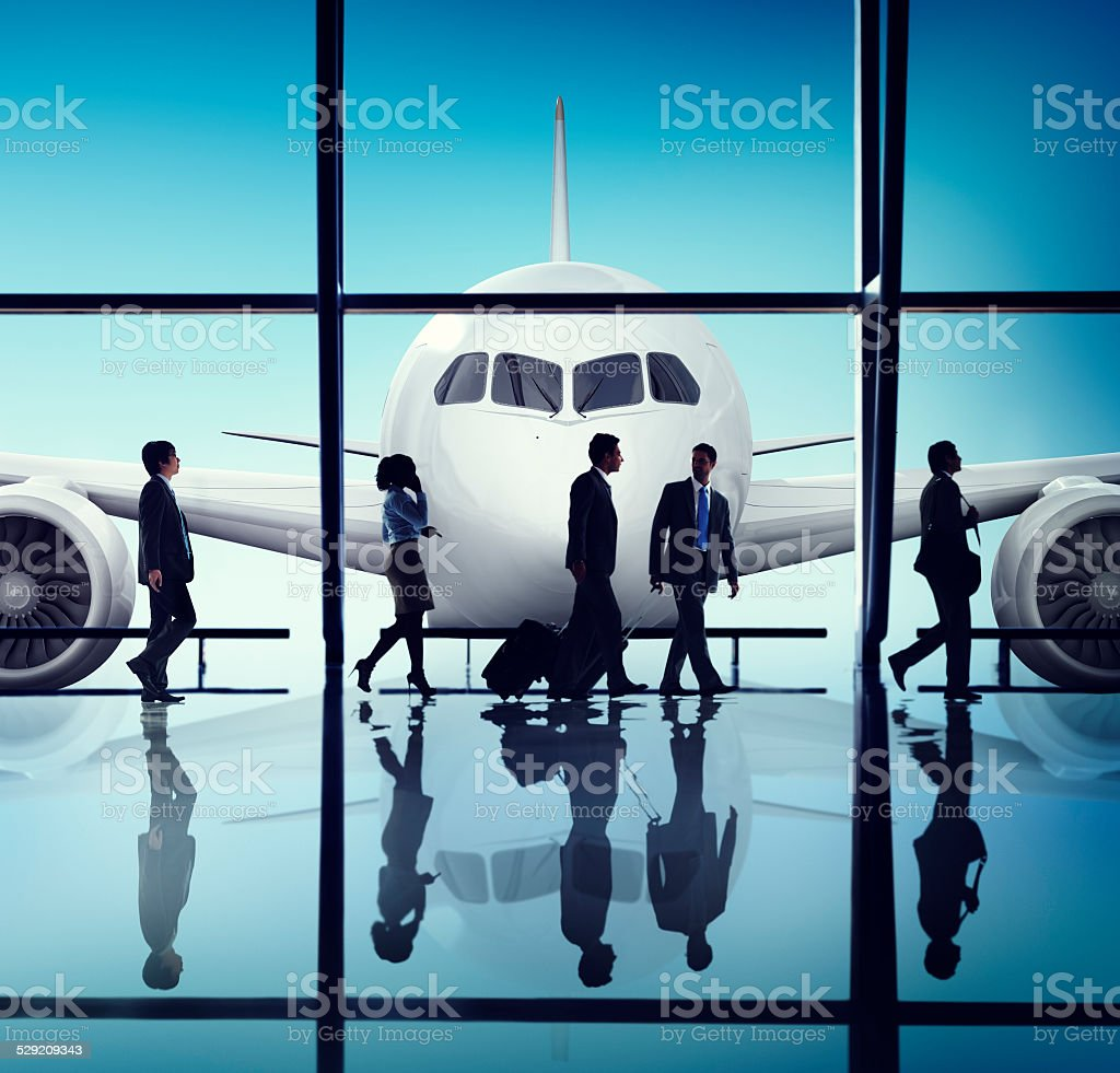 Business People Corporate Travel Airport Concept stock photo