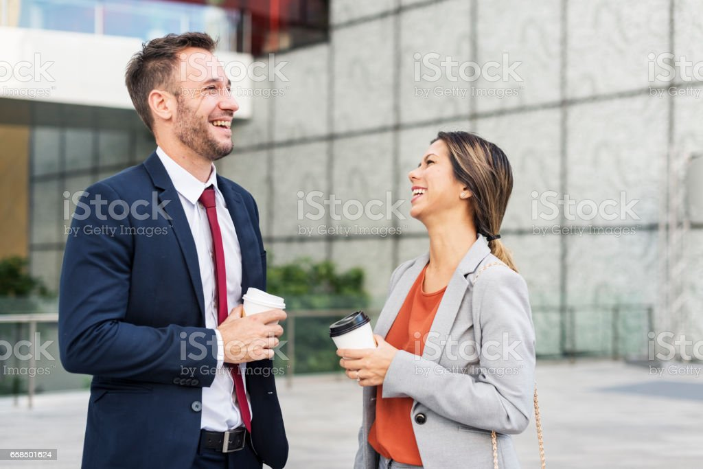 Business People Discussion Happiness Coffee Togetherness Concept stock photo