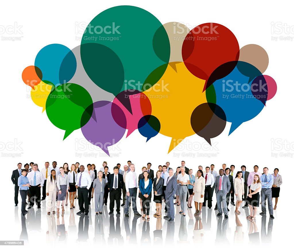 Business People Diverse Standing Communication Concept stock photo