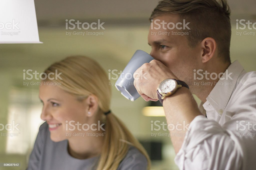 Business people drinking coffee stock photo