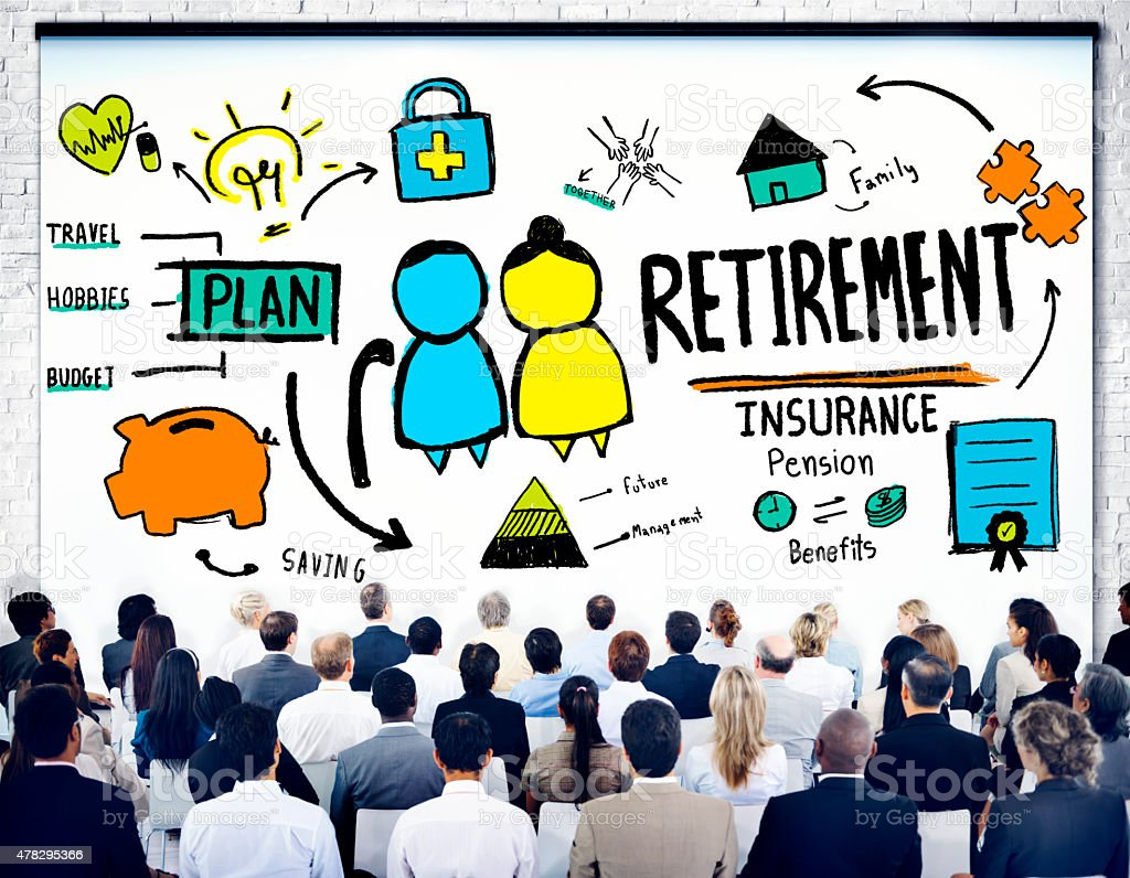 Business People Employee Retirement Presentation Seminar Concept stock photo