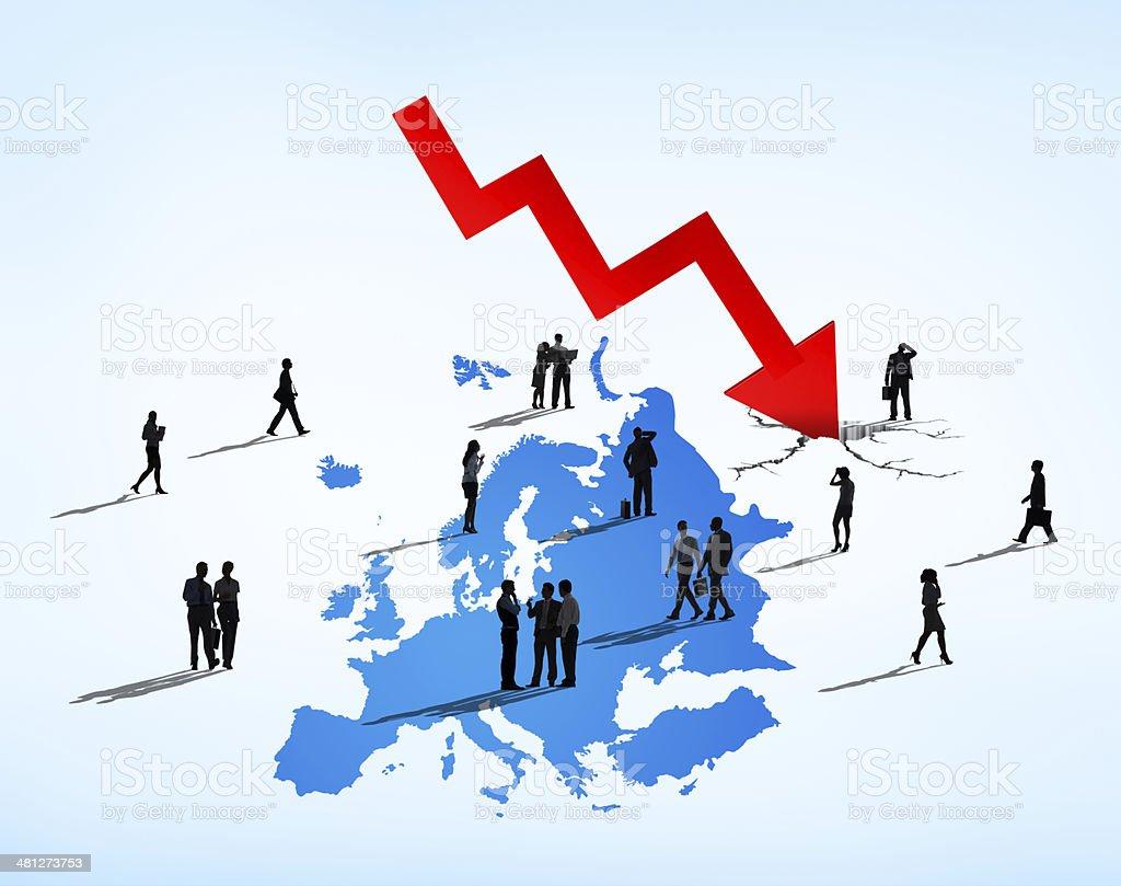 Business People Facing European Debt Crisis stock photo