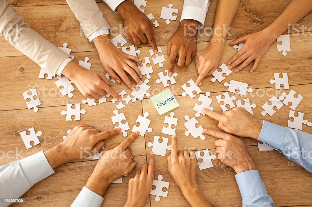 Business people finding a solution stock photo