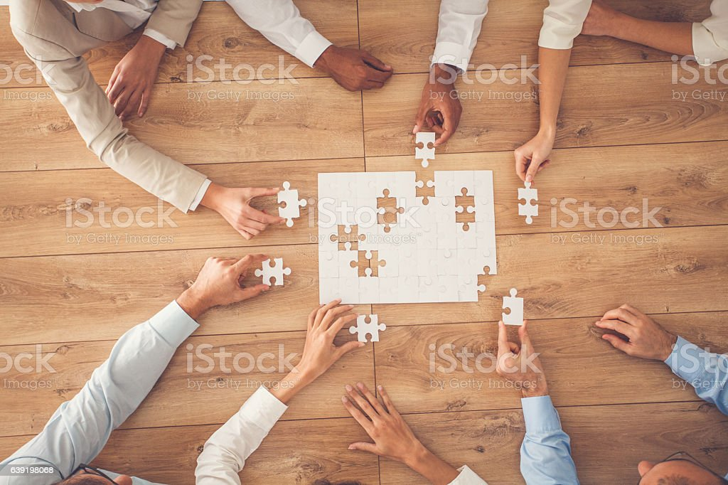 Business people finding solution together at office stock photo