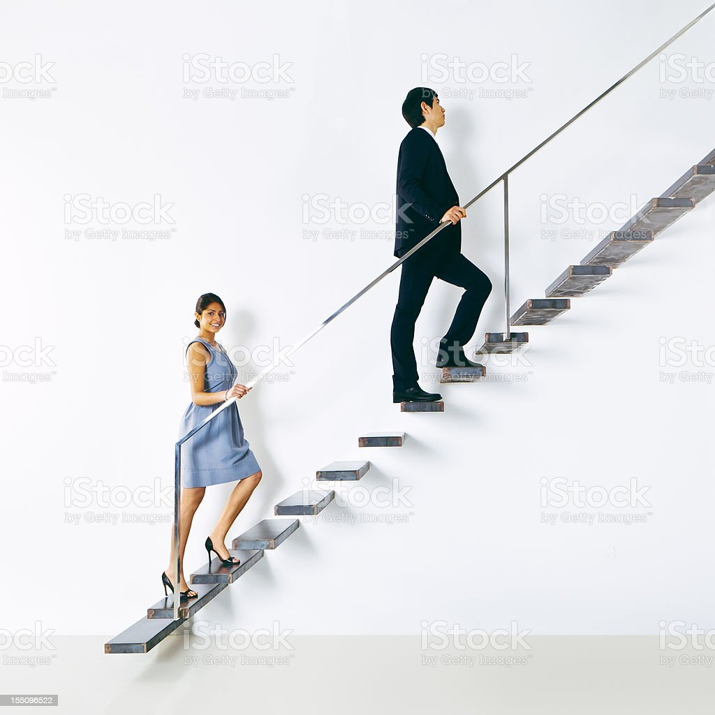 Business people going up royalty-free stock photo