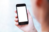 Business people hand holding blank screen smart phone