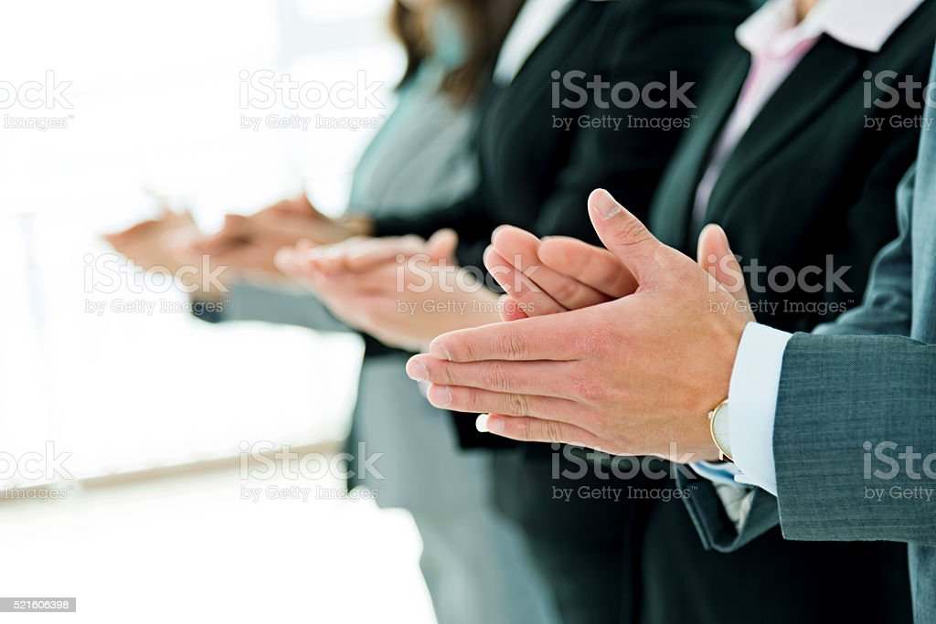 Business people hands applauding stock photo