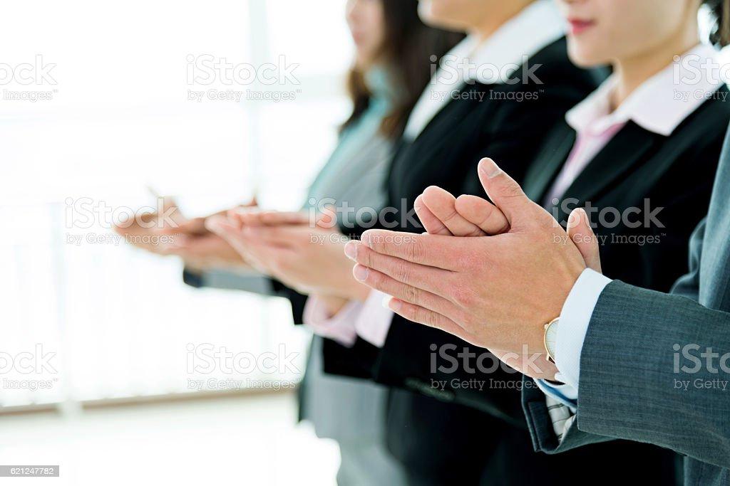 Business people hands applauding stock photo