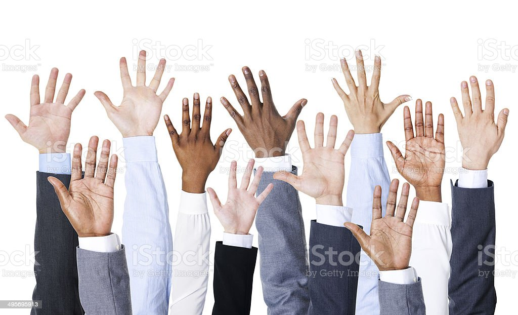 Business People Hands Up stock photo