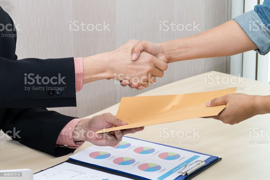 Business people handshake for success contract stock photo