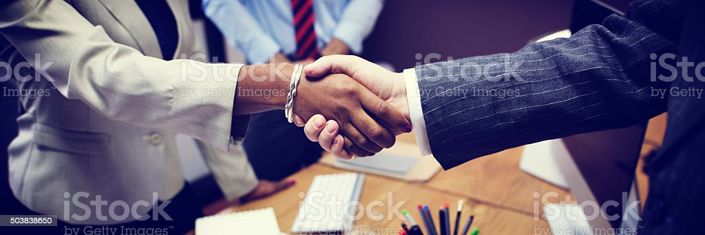 Business People Handshake Greeting Deal Concept stock photo