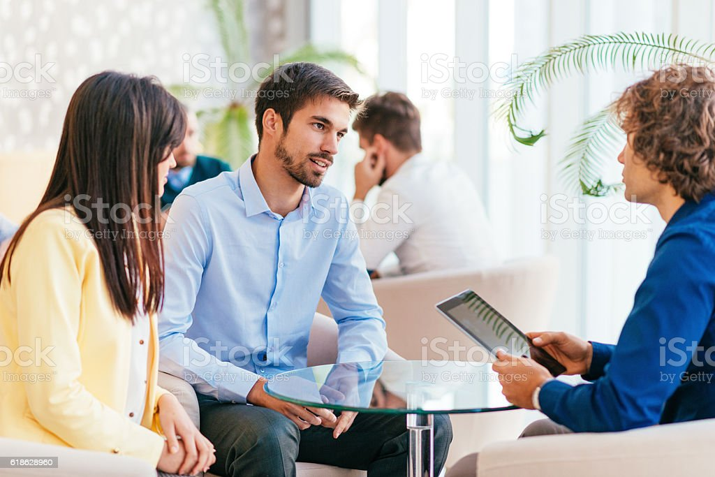 Business people having discussion time stock photo