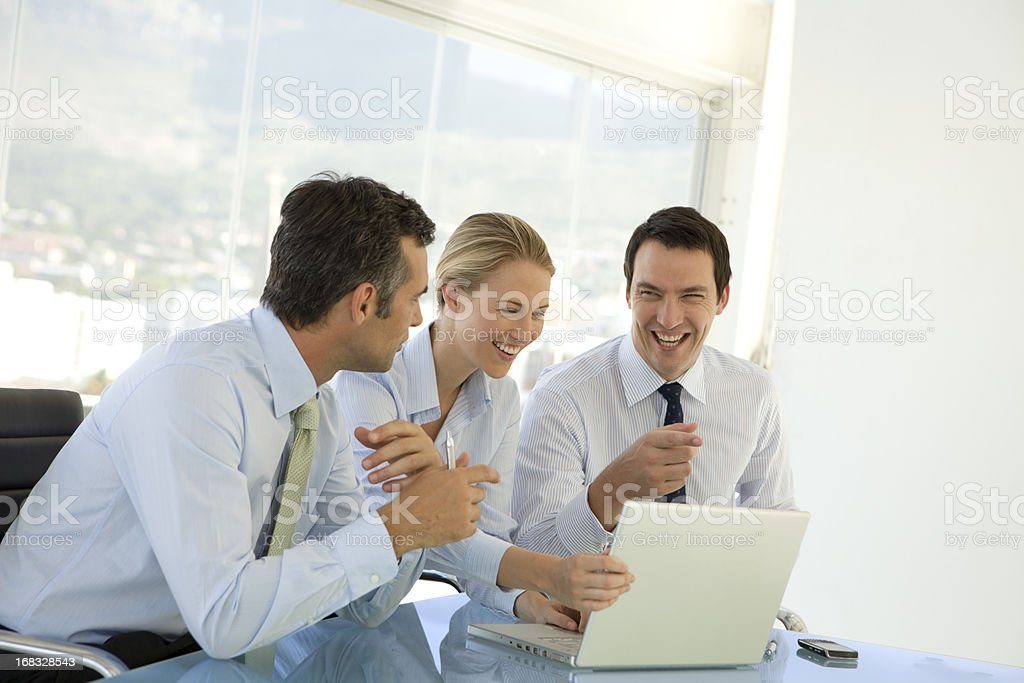 Business people having fun at a meeting royalty-free stock photo
