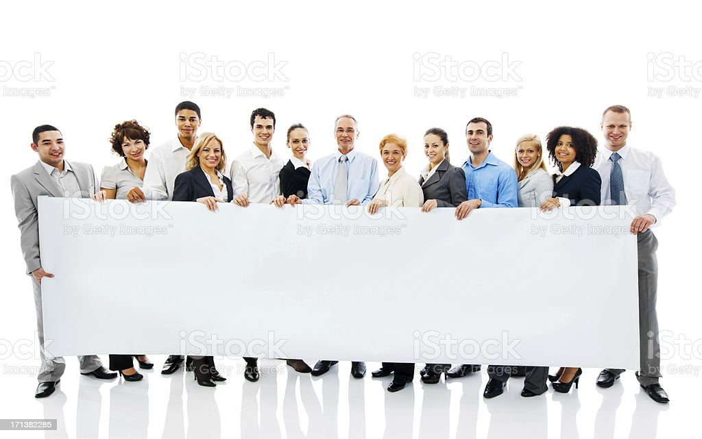 Business people holding a Banner. stock photo