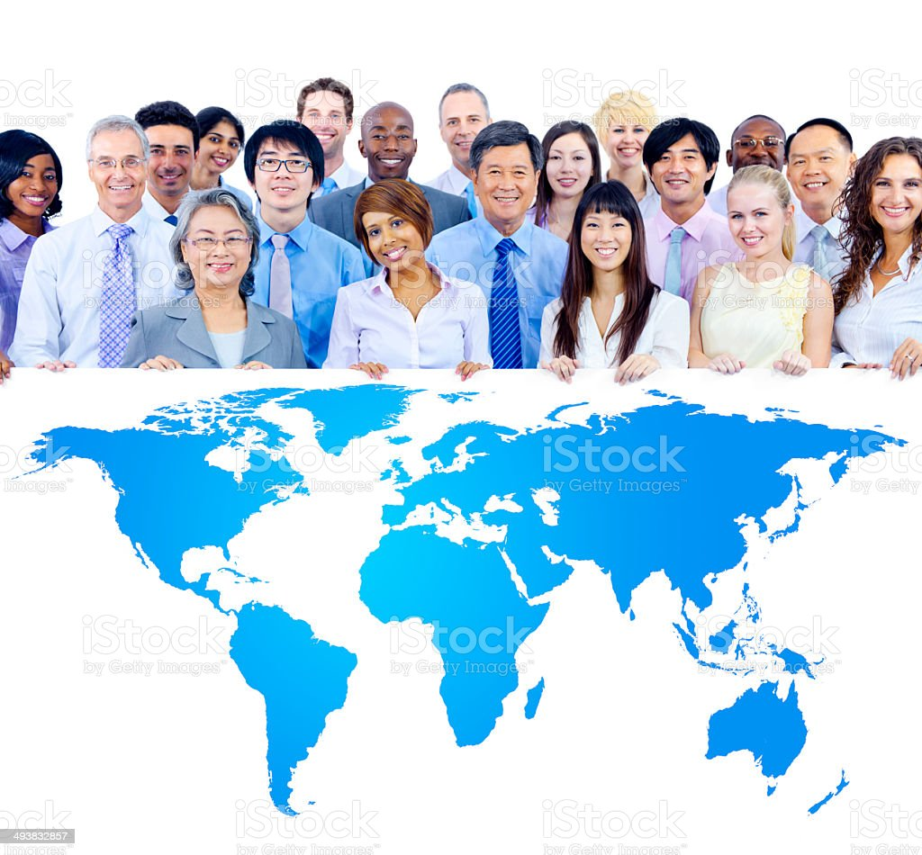 Business People Holding Board with the World Map stock photo