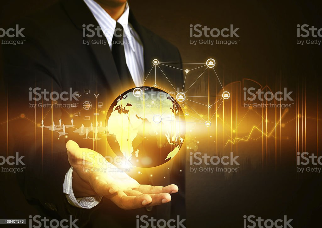 Business people holding social network with globe stock photo