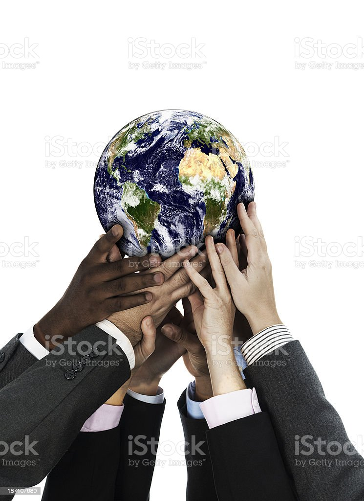Business people holding the world stock photo