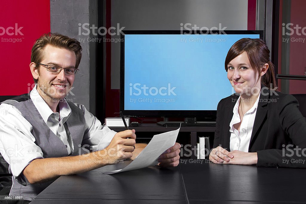 Business People in a Job Interview with a Blank Screen royalty-free stock photo