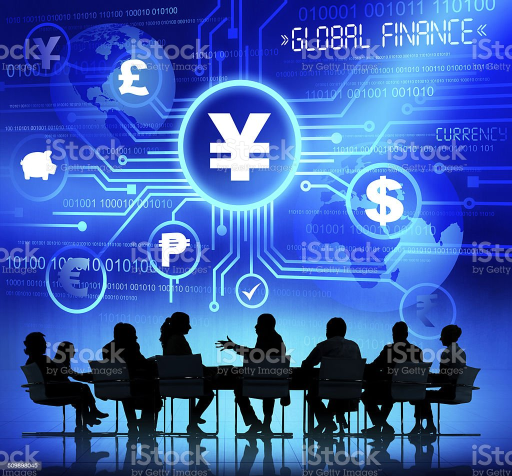 Business People in a Meeting and Global Finance Concepts stock photo