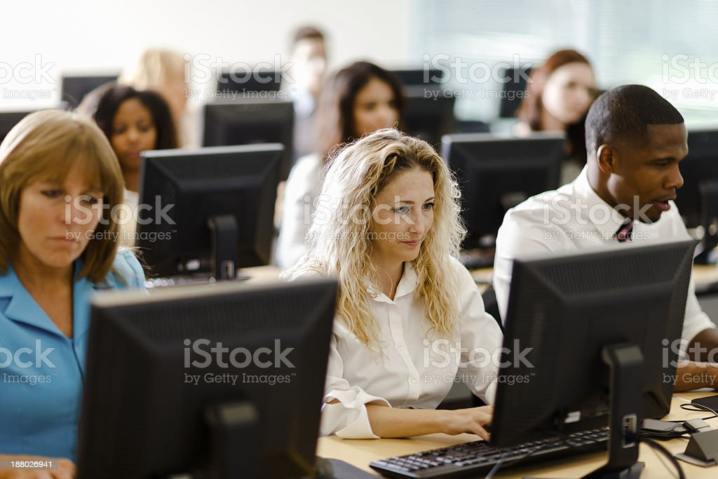 Business People in Computer Class royalty-free stock photo
