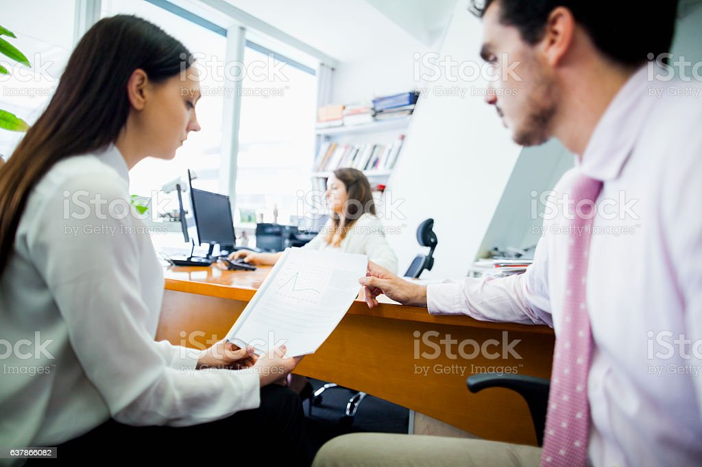 Business people in office meeting together stock photo