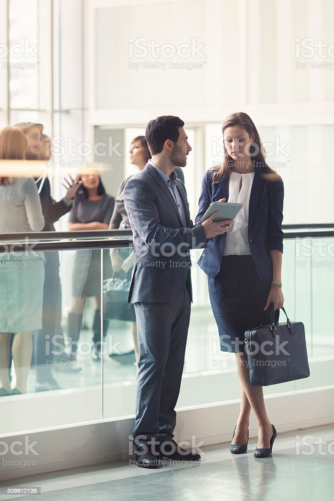 Business people in the lobby stock photo