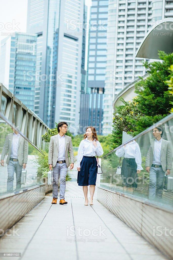Business people in Tokyo establishing cooperation stock photo