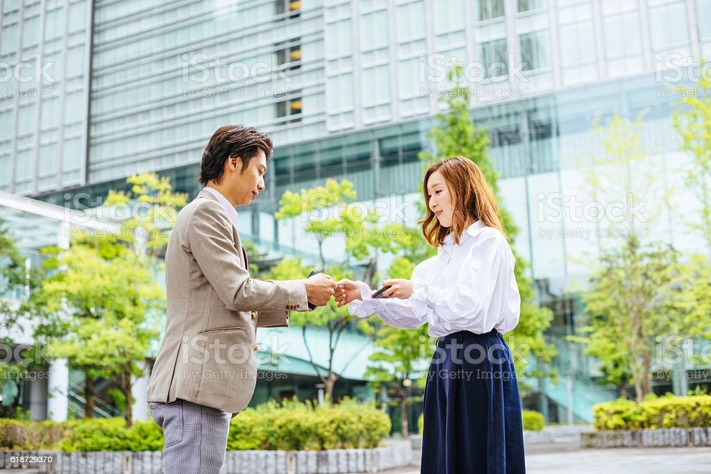 Business people in Tokyo establishing new business relationships stock photo
