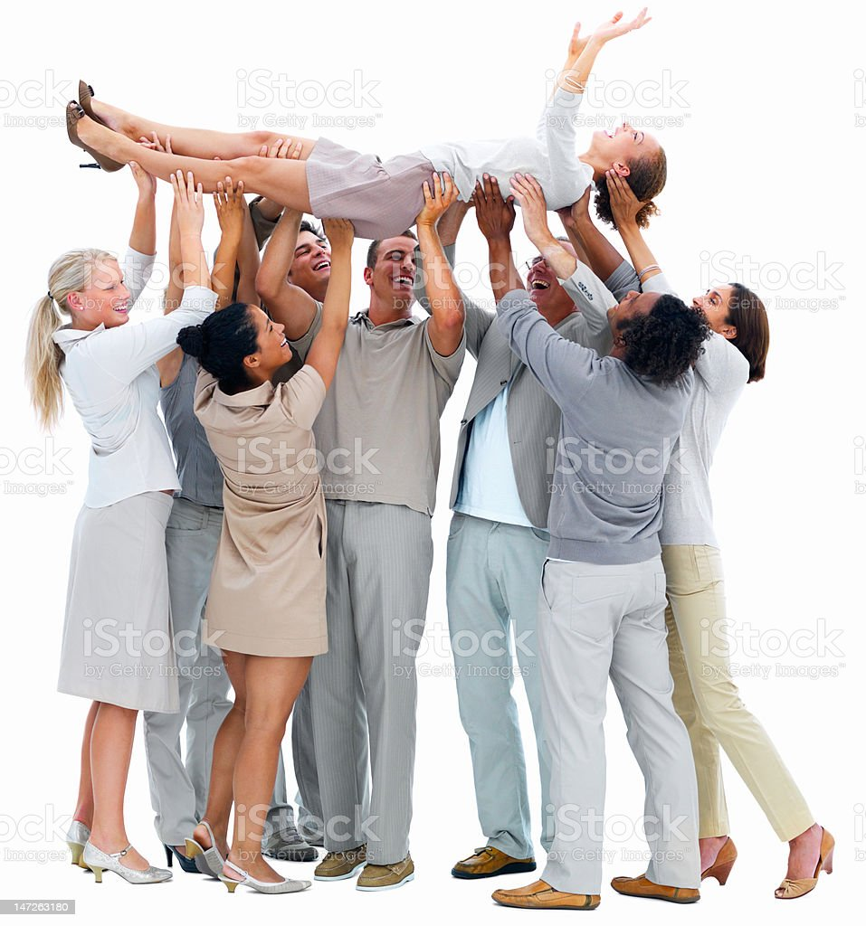 Business people lifting a woman royalty-free stock photo
