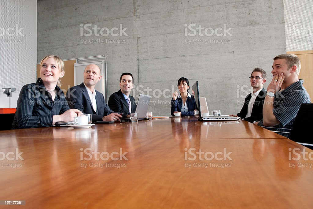 Business people listening to the presentation stock photo