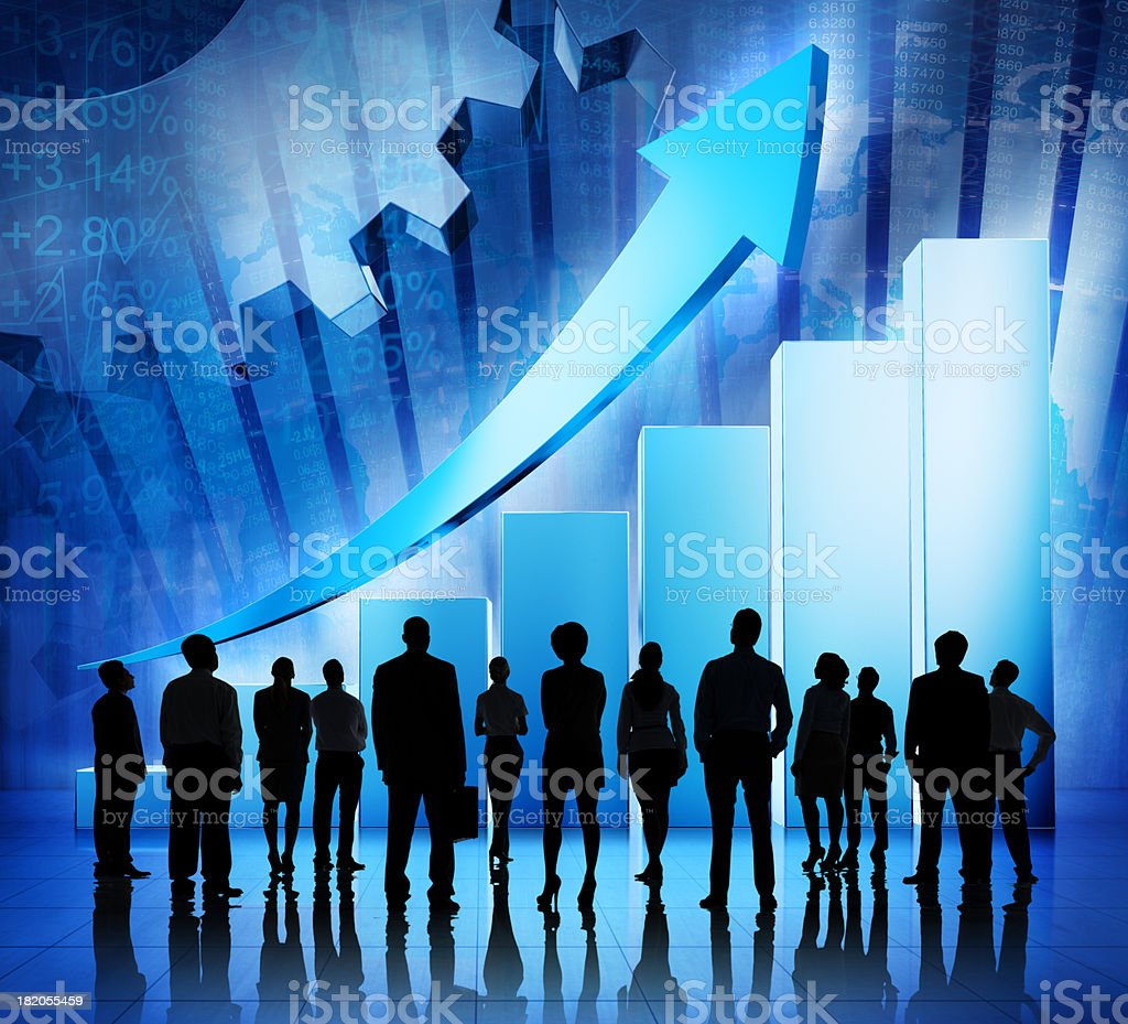 Business People Looking at Their Success royalty-free stock photo