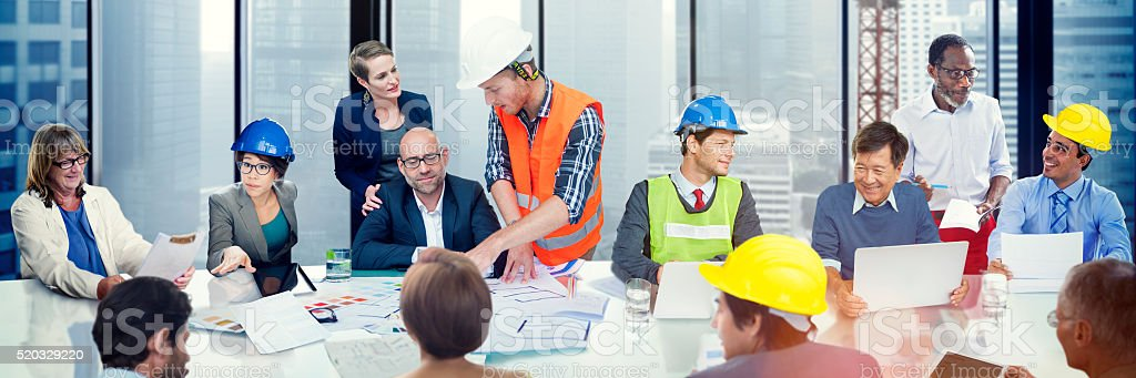 Business People Meeting Architect Engineer Corporate Concept stock photo