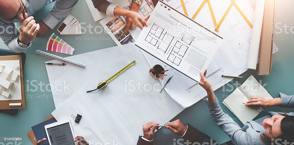 Business People Meeting Architecture Blueprint Design Concept stock photo