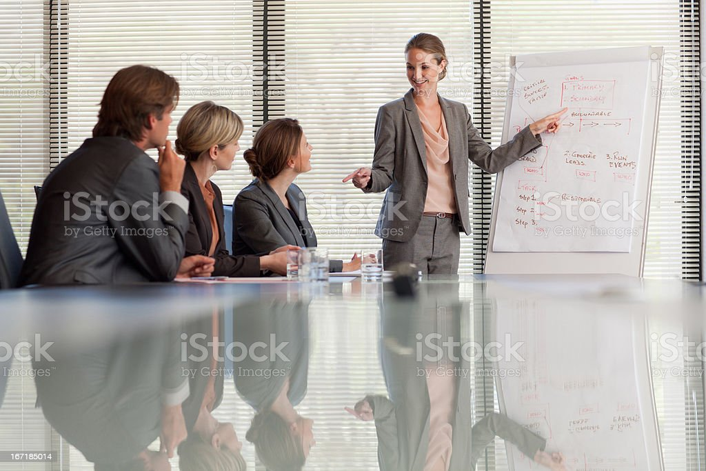 Business people meeting at table in conference room stock photo