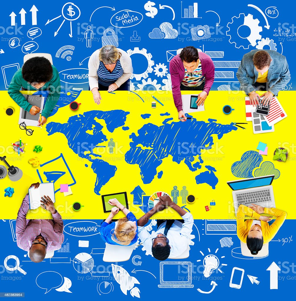 Business People Meeting Brainstorm World Concept stock photo