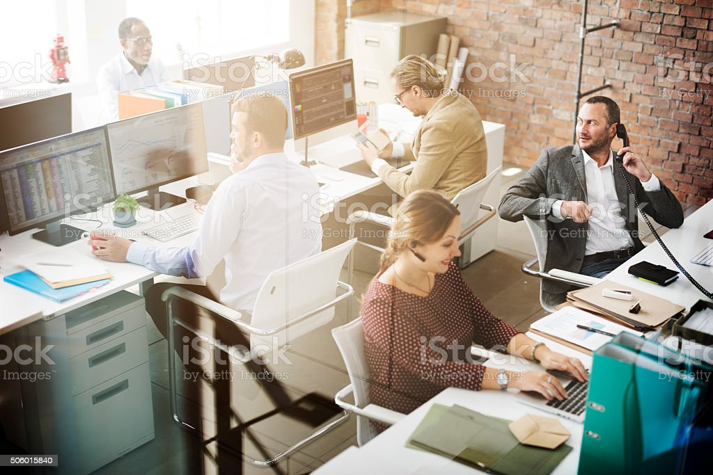 Business People Meeting Discussion Working Office Concept stock photo